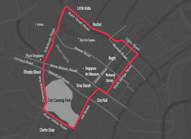 Map of Bras Basah Area